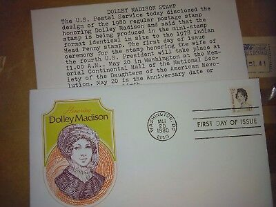 United States First Day Cover #1822  Cover Craft Cachet   Dolley Madison