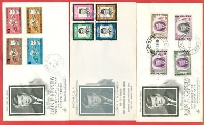 Nicaragua Togo Guinee Topic Kennedy JFK 3 diff FDC Cover Lot#4764