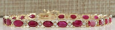 14.50Ctw Natural Red Ruby And Diamond Bracelet In 14K Yellow Gold