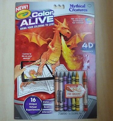 Crayola Color Alive Mythical Creatures coloring book with crayons, 2015 dragons