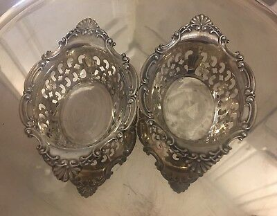 Antique Set/2 Birks Sterling Silver Reticulated Nut Dishes