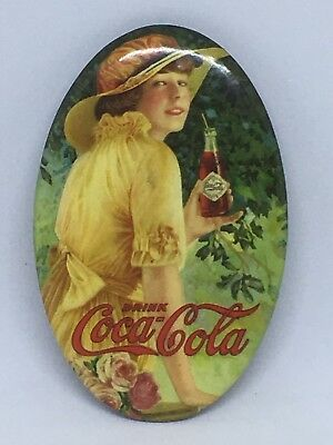 Antique 1916 Celluloid Coca Cola Pocket Mirror Straight Sided Bottle