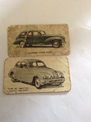 1949 Two Orig Kelloggs Car Cards Bristol and Humber I