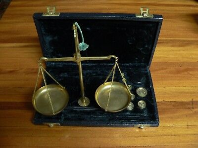 Vintage scales in portable velvet lined case