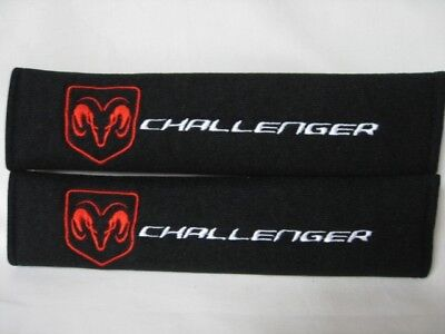 Dodge Challenger Pair of Seat Belt Cover Shoulder Pad Embroidery LOOK!