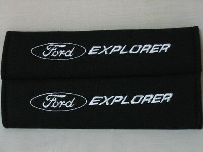 NEW Black Seat Belt Cover Shoulder Pad Pair w/ Embroidery Ford Explorer Logo
