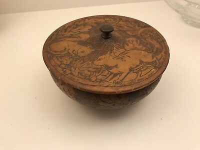 Victorian  Pyrography Squirrels Oak Leaves Acorns Wooden Covered Trinket Box