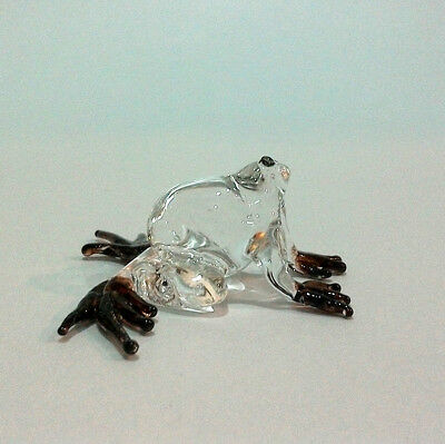 TINY FROG HAND PAINT BROWN BLOWN GLASS ART FIGURINE DECOR/ANIMAL COLLECTION#pro