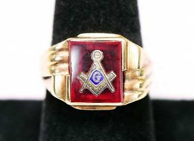 10k Yellow Gold Vintage Masonic Free Masons Mens Ring - Sz 8!