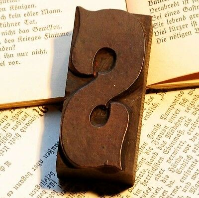 """Letter """"S"""" fancy rare decorative wood type character letterpress printing block"""