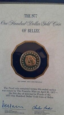 1977 Belize $100 Gold Proof Coin - 50% Fine Gold- Free International Postage