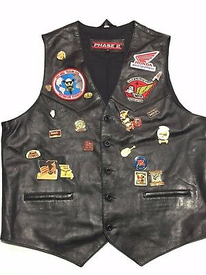 Vintage Gold Wing Road Riders Vest With Patches & Pins Phase 2 Size L