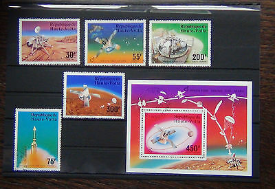 Upper Volta 1976 Mars Viking Challenger set and Miniature sheet VFU Space