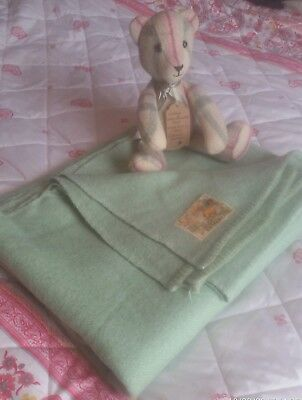 VINTAGE 40s WOOL BLANKET ,CWS HAVEN LABEL,BEAUTIFUL GREEN,VGC,S.BED SIZE