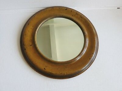 antique old mirror painted round wood frame  new glass