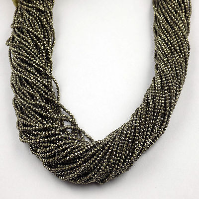 """5 Strand Pyrite Rondelle Shape 2.10mm Micro Faceted Gemstone Beads 13"""" Long"""