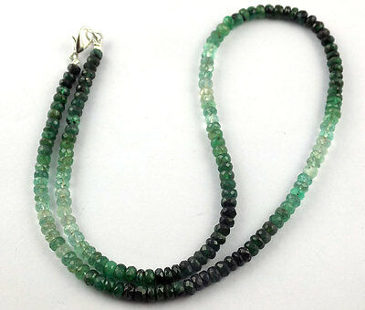 """1 Strand Natural Emerald Faceted Precious Necklace 4.5-5mm 17"""" Long Silver clasp"""