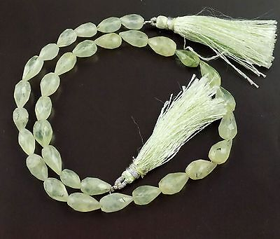 "1 Strand Natural Prehnite Gemstone Dril Faceted Drops Shape 6x10-7x14mm 13"" Long"