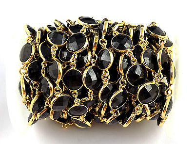 1 Feet Natural Black Spinel Gemstone Round Faceted Connector Linking Chain