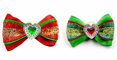 2 Christmas Pet Dog Hair Bows Rubber Bands Cat Puppy Grooming Hair Accessories