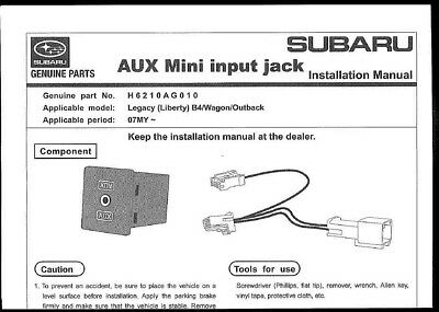 Genuine Subaru Auxiliary Port Kit H6210Ag010 (Liberty & Outback My07 - My08) New