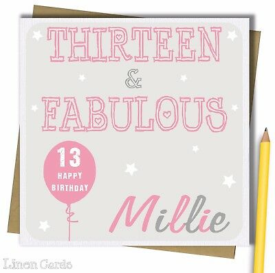Personalised 13th teenage teen birthday card girls daughter personalised 13th teenage teen birthday card girls daughter granddaughter niece bookmarktalkfo Image collections