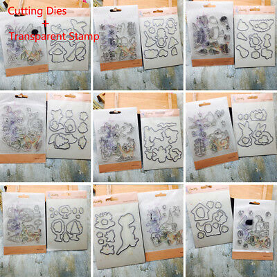 Transparent Stamps + Metal Cutting Dies Stencil Scrapbooking Embossing Handcraft