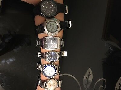 LOT of 6 Preowned Mens Watches. CASIO,FOSSIL, KENNETH COLE, PHILIP PERSIO etc