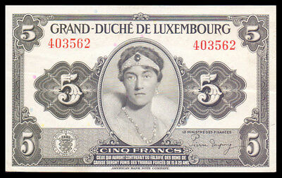 LUXEMBOURG Grand Duchess Charlotte 5 FRANG FRANCS 1944 P-43a WITHOUT PREFIX