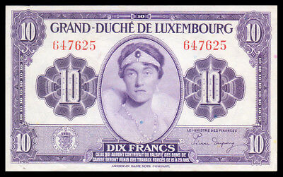 LUXEMBOURG Grand Duchess Charlotte 10 FRANG FRANCS 1944 P-44