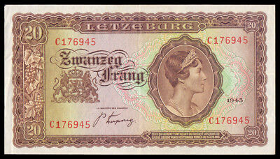 LUXEMBOURG Grand Duchess Charlotte 20 FRANG 1943 P-42a BROWN COLOR