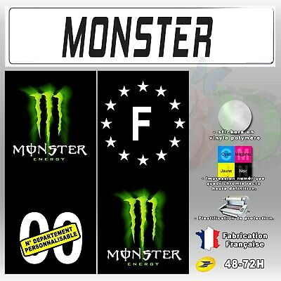 4X Stickers Plaques D'immatriculation 110x45 mm Monster Energy Fond Noir