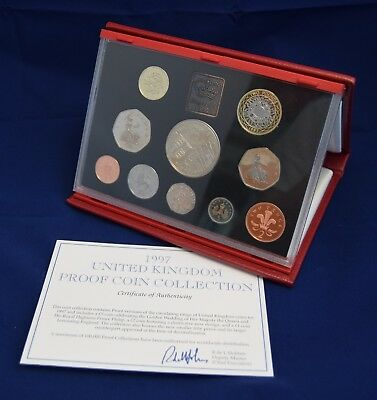 Royal Mint 1997 Deluxe Proof Coin Set In Red Leather Case With Coa
