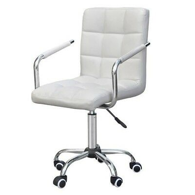 Executive Home Office Chair PU Leather Computer Desk Task Gas-lift Swivel White