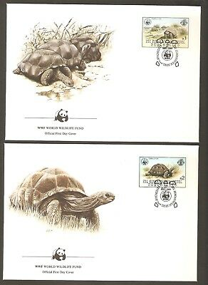 1985   SEYCHELLES  -  4 x WWF FIRST DAY COVERS  -  GIANT TORTOISE