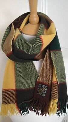 Mens 100% Wool Scarf Multi Colour Check