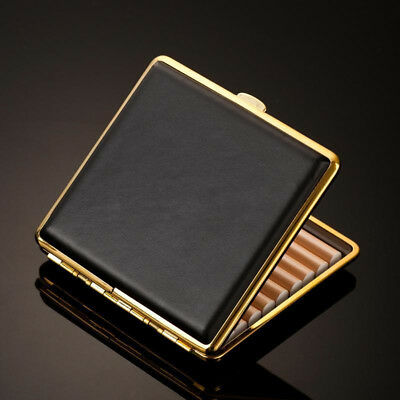 Vintage Black Leather Cigarette S Case With Gift Box For 20Pcs Antique Pouch New