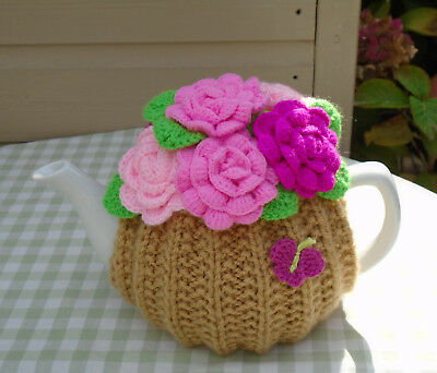 Hand Knitted Roses Tea Cosy For A Medium Teapot Crochet Flowers And Butterfly