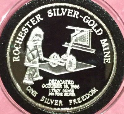 1987 Rochester Silver Gold Mine Coeur d'Alene Troy Oz .999 Fine Round Proof Coin