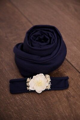 Baby Headband Newborn Photography Prop Stretch Wrap Set Prop Navy Blue Ivory