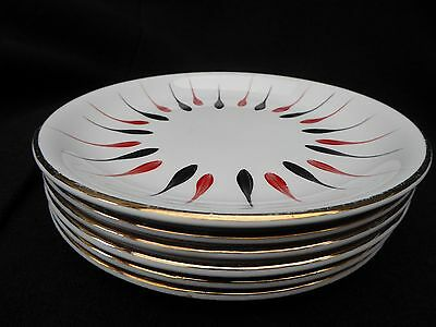 """FURTHER REDUCED Six Mid Century Barratt's Delphatic side plates 7"""" Handpainted"""