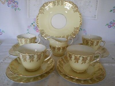 Adderley Fine Bone China Tea Set Vintage Pale Yellow Gold Gilt Weddings Partys