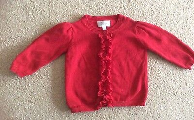 Bebe By Minihaha!  Designer Brand Ruffled Cardigan, Euc.  Sz 18M, Suits 1-2