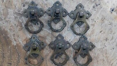Set of 6 Victorian Pugin style quality brass drop handles - ANTIQUE