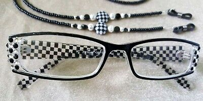 Hanmade Black & White Check Checked Reading Glasses Readers 3.75 courtly