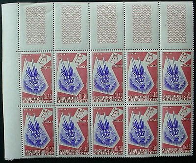UPPER VOLTA 1960: ANIMAL MASKS CORNER MARGINAL BLOCK OF 10 x 30c  MNH STAMPS: