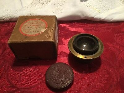 Old Brass Oxus Camera Lens By Aldi's Brothers No 11220 With Old Box