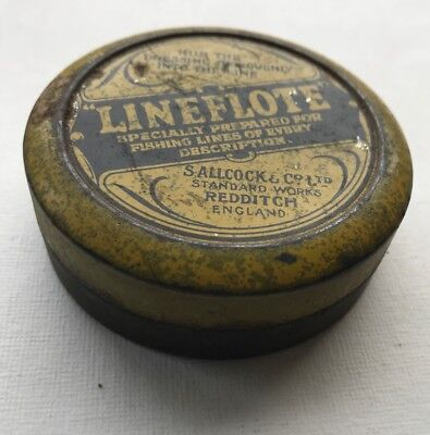 S ALLCOCK & CO Tin of Llineflote preparation for Fishing Lines