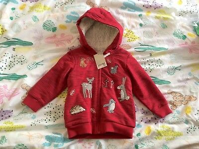 BNWT Next Red Fleece Lined Hoodie Jacket With Woodland Animals Age 18-24 Months