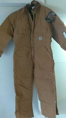 Carhartt coveralls duck insulated mens 46 quilt lined pants overalls